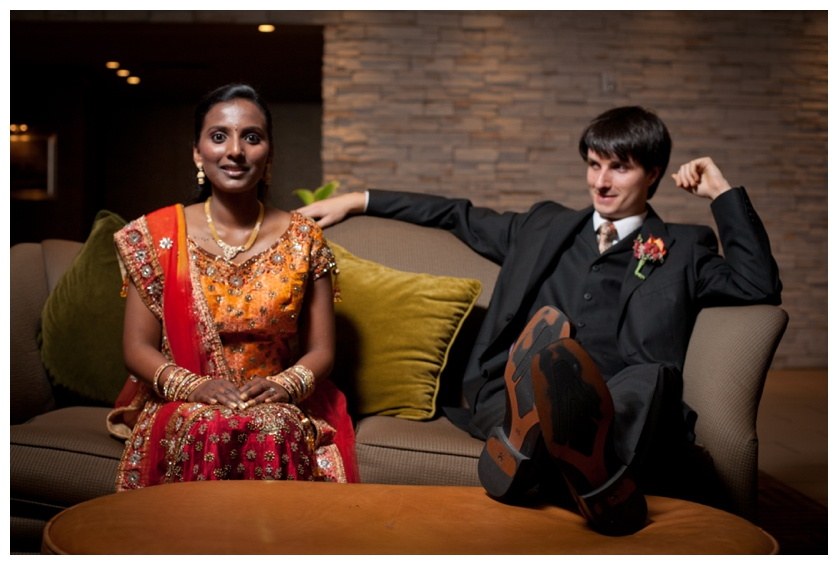 Couple relaxes after Indian wedding ceremony in New Jersey