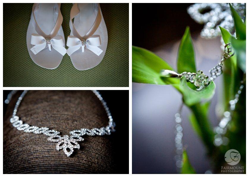 wedding flip-flops, bridal jewelry on bamboo plant