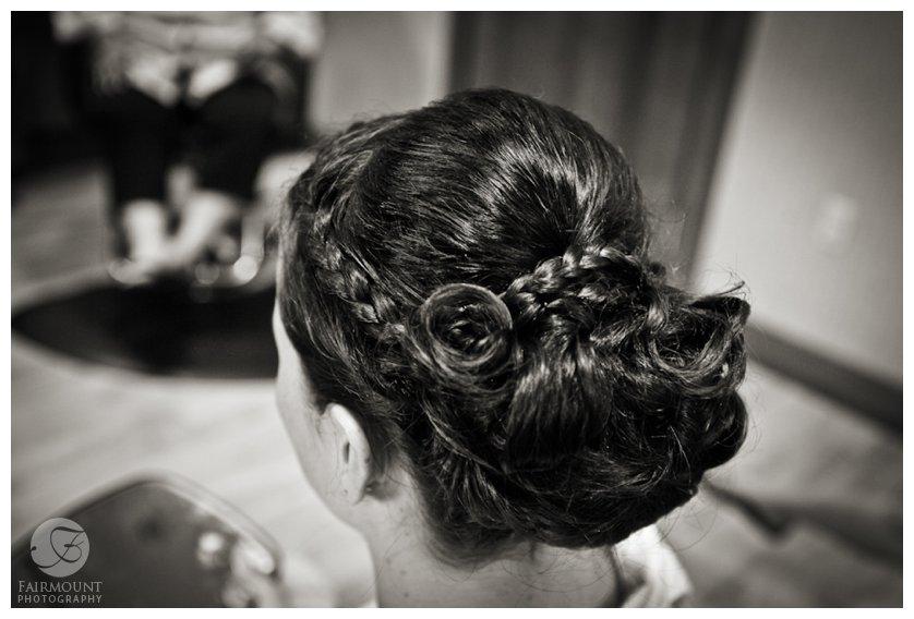 bride's hair in bun with braids
