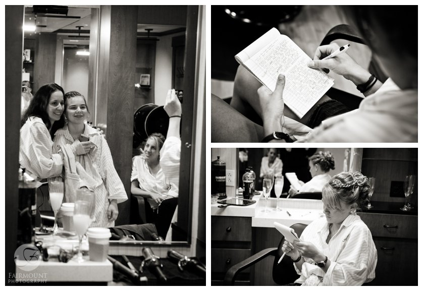 bridesmaid writing speech, getting ready at salon