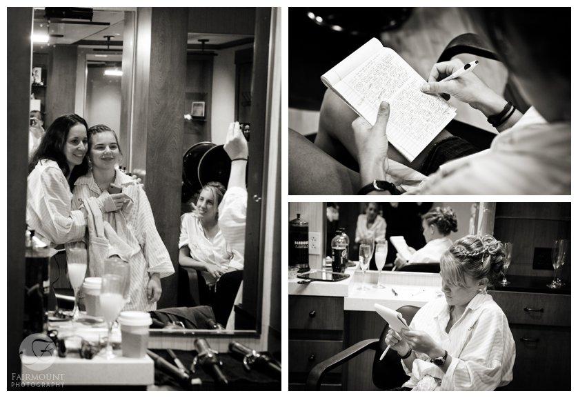 bridesmaid writing speech, getting ready at salon