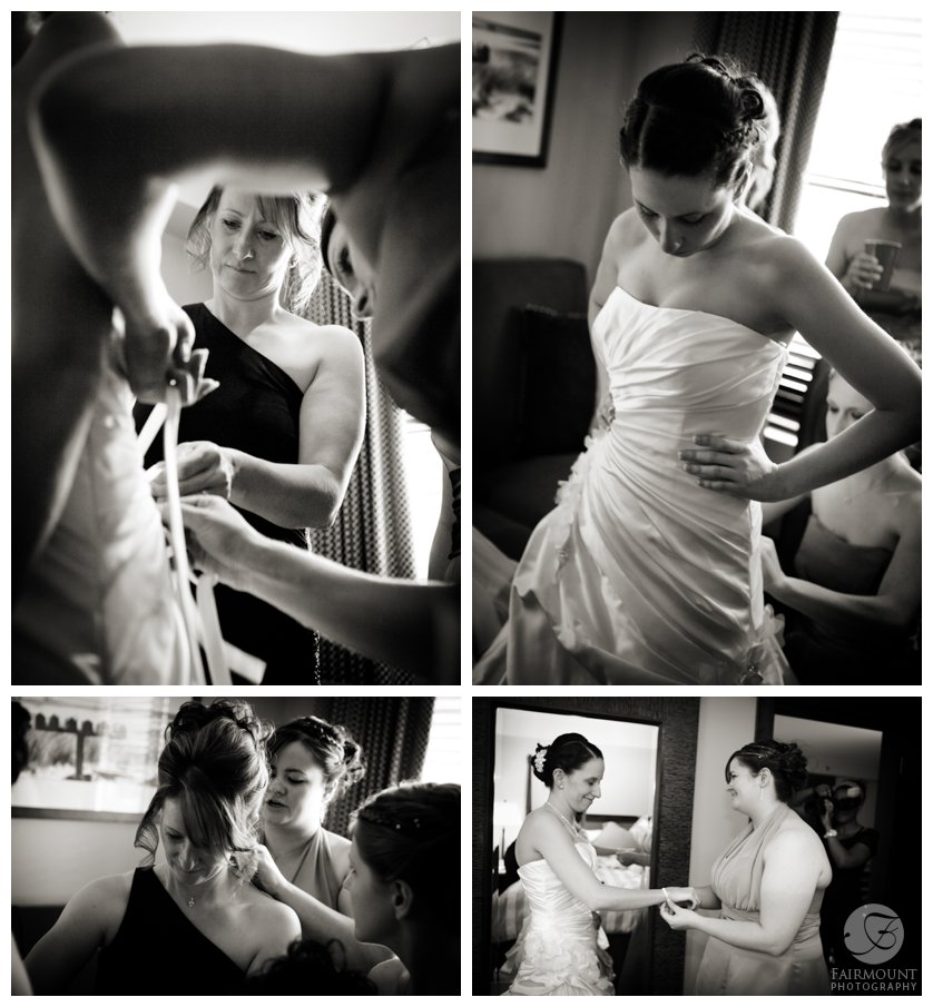 Bride get's dressed at Bear Creek in Macungie, PA