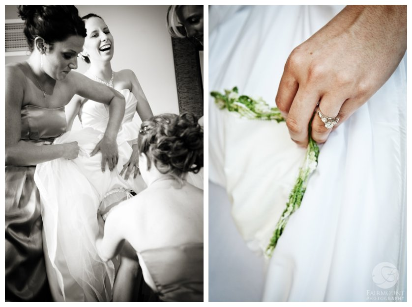 bride puts on garter and shows off grandmother's handkerchief sewn into wedding dress