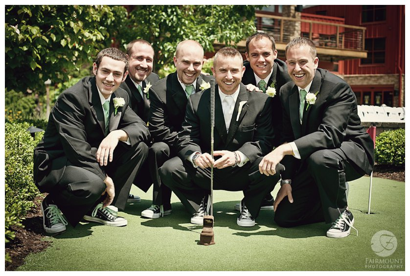 groomsmen portrait on the putting green at Bear Creek Mountain Resort in the Lehigh Valley