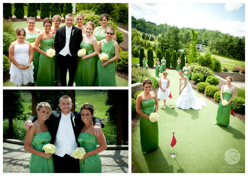 bride & bridesmaids on putting green, bridesmaids in floor-length green dresses