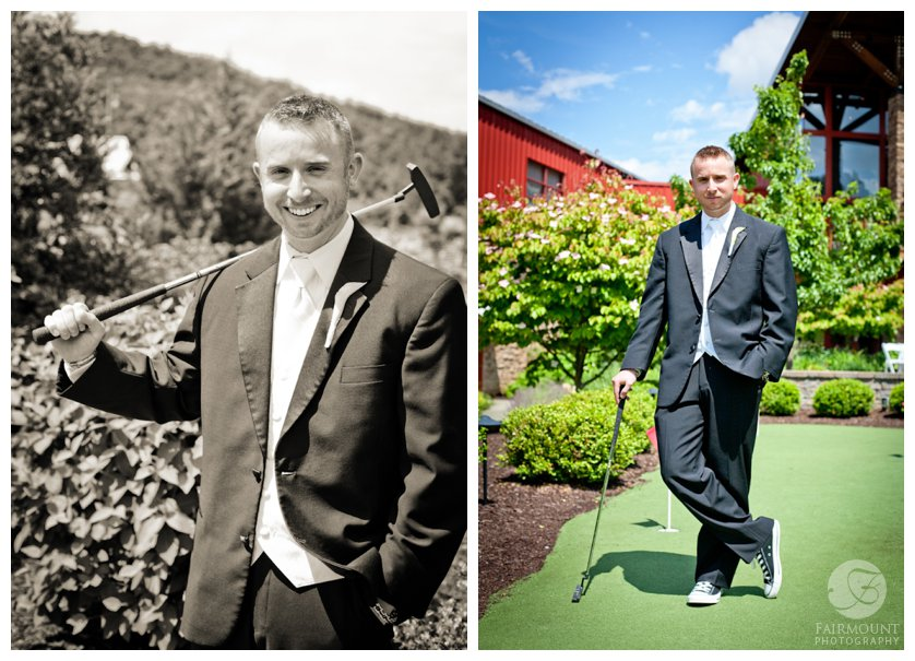 groom's portrait on the putting green at Bear Creek