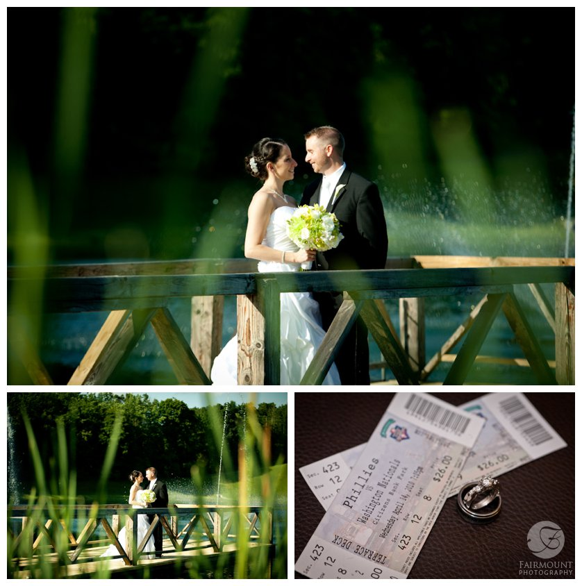 Bride & groom by the lake at Bear Creek Resort, also wedding rings with Phillies tickets