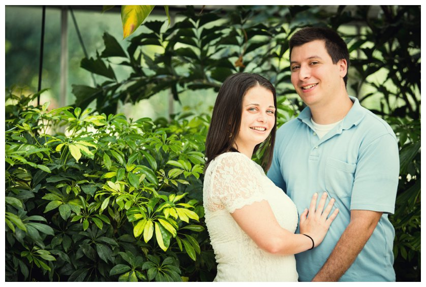 Engagement photo in greenhouse at Horticulture Center in Fairmount Park