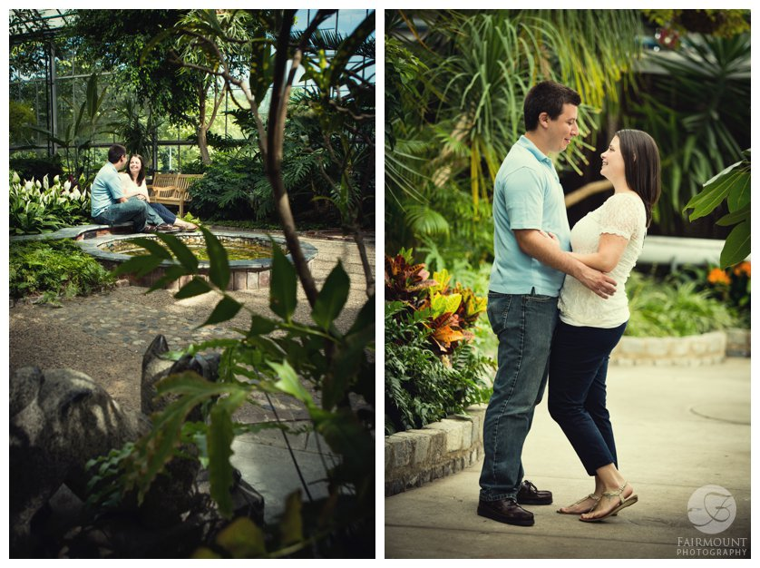 greenhouse engagement photos with tropical plants