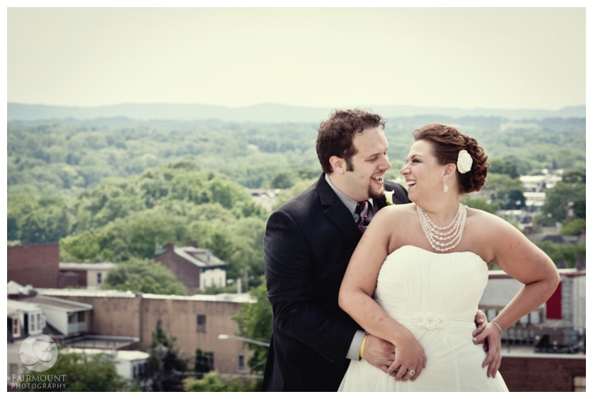 wedding portrait overlooking Allentown