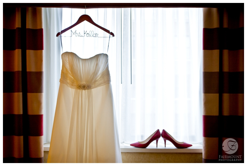 wedding dress and red wedding shoes