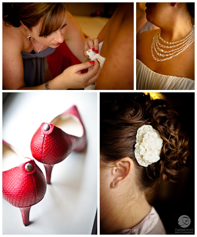 bridal details, red wedding shoes, antique crystal necklace, flower in bride's hair