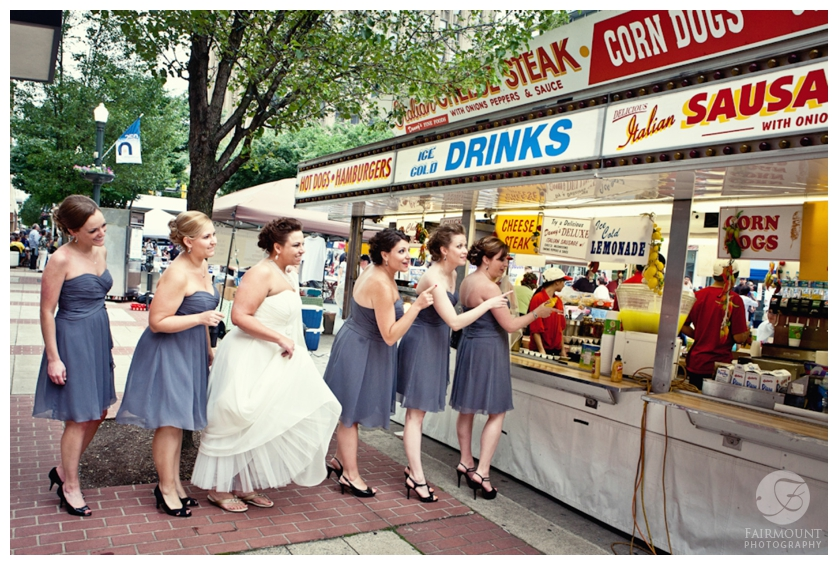 fun bridesmaids photo of bridesmaids in line for hot dogs