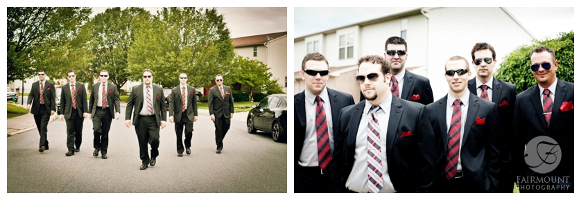 groomsmen with sunglasses, walking down street