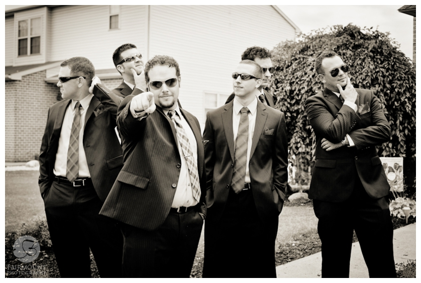 fun groomsmen photo, dramatic boy band photo