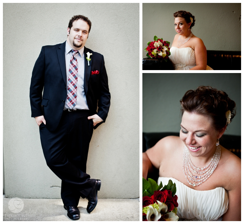 groom with red & black plaid tie, bride's portraits