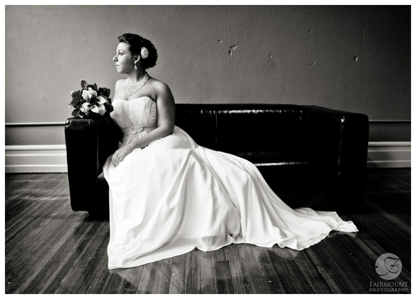 elegant bridal portrait in black & white