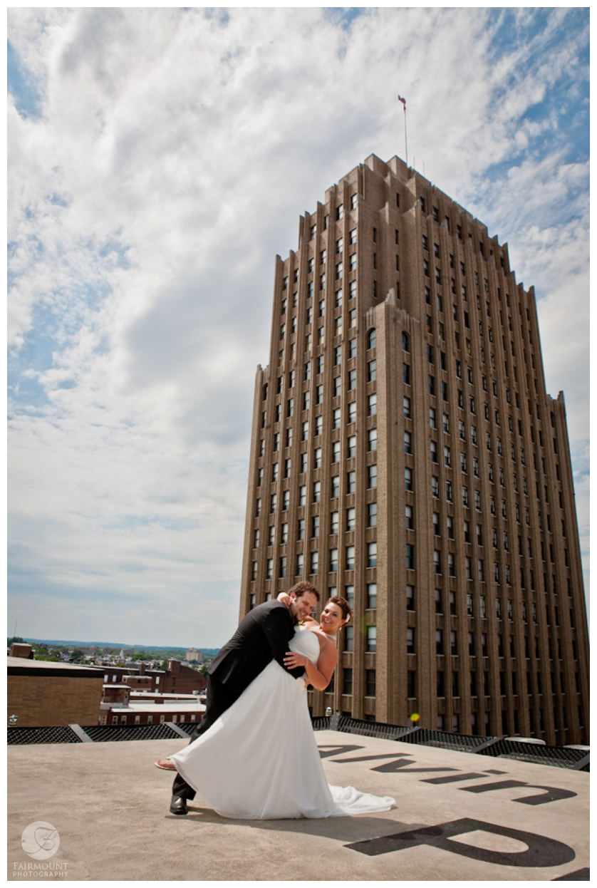 Bride & Groom in front of PPL building in Allentown, PA