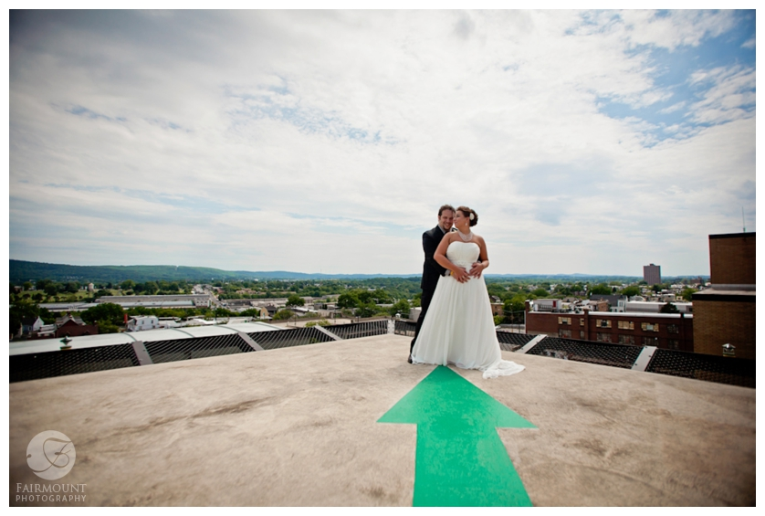 Bride & Groom on Butz Building with Lehigh Valley behind them
