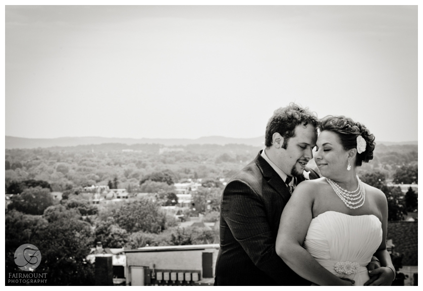 bride and groom with aerial view of Allentown, PA