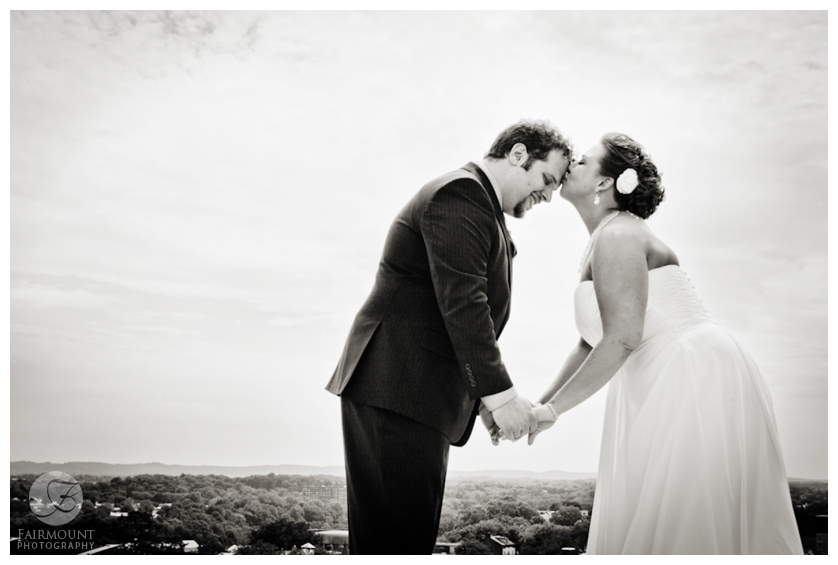 black & white bridal portrait with Lehigh Valley landscape