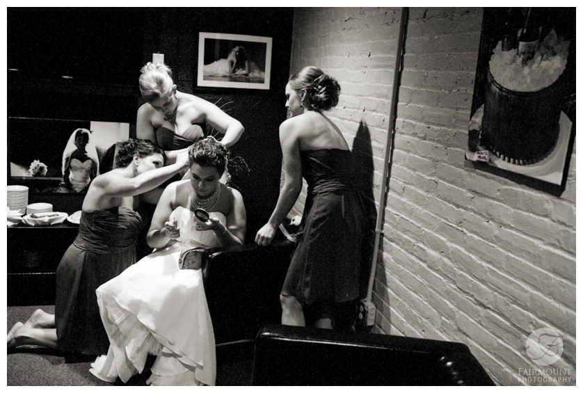 bridesmaids fix veil at Allentown Brew Works