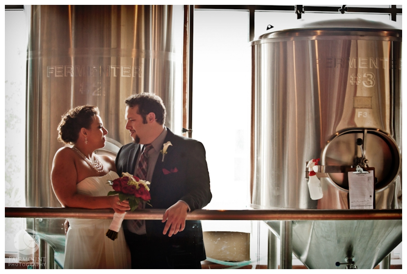 Bride & Groom with brewing high gravity beers at Allentown Brew Works