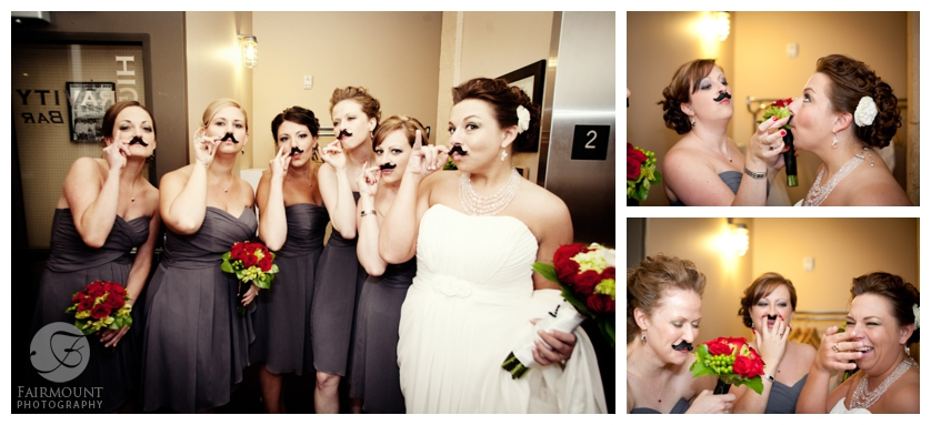 Bride & Bridesmaids with moustaches