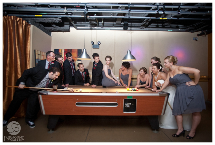 Bridal party at the pool table in the Silk Lounge at Allentown Brew Works