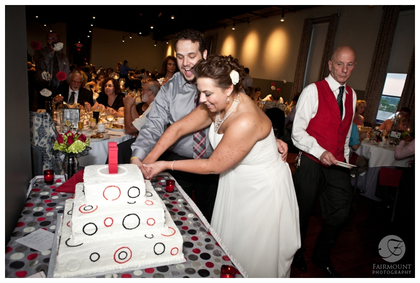 wedding cake with red & black circles