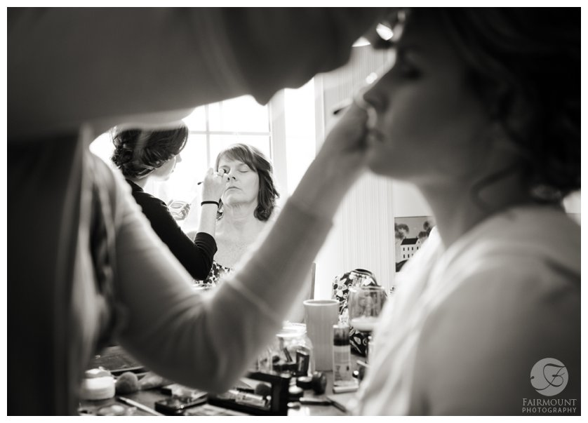 black and white getting ready make-up photo