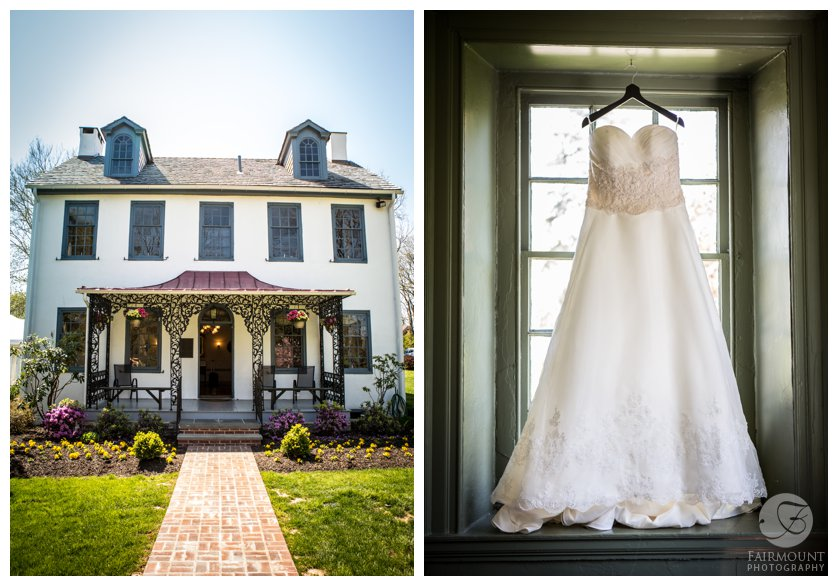 wedding dress at the Duportail House, a colonial home near Valley Forge, PA