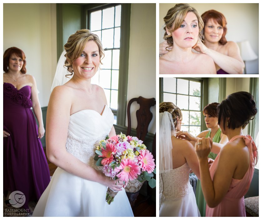 bride gets dressed in Revolutionary-era Farmhouse near Valley Forge, PA