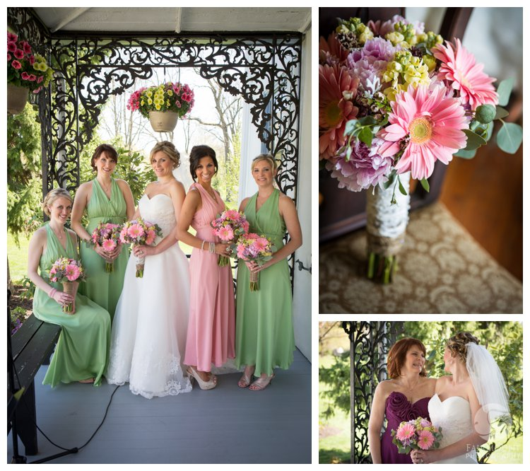 bridal party in pink and light green bridesmaid dresses for spring wedding at colonial farmhouse