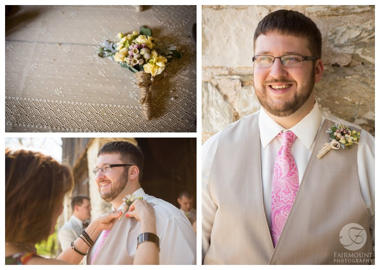 groom with tan vest and pink tie
