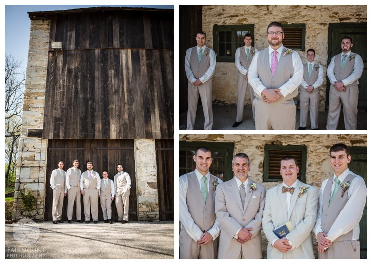 groomsmen in light gray suits at colonial farmhouse wedding