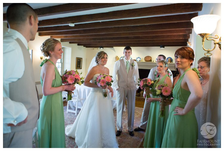 bride with bridesmaids before wedding