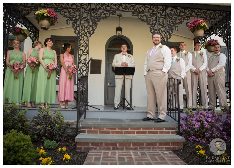 wedding ceremony on front porch of Duportail House