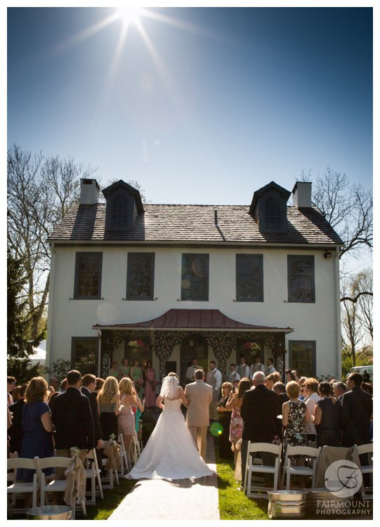 Wedding ceremony at Colonial Farmhouse near Valley Forge National Park