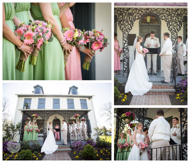 Duportail House wedding ceremony in April with pink and pale green wedding colors