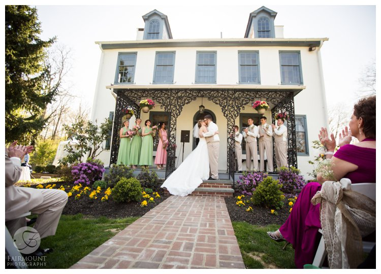 Wedding ceremony at Duportail, a colonial farmhouse in Valley Forge