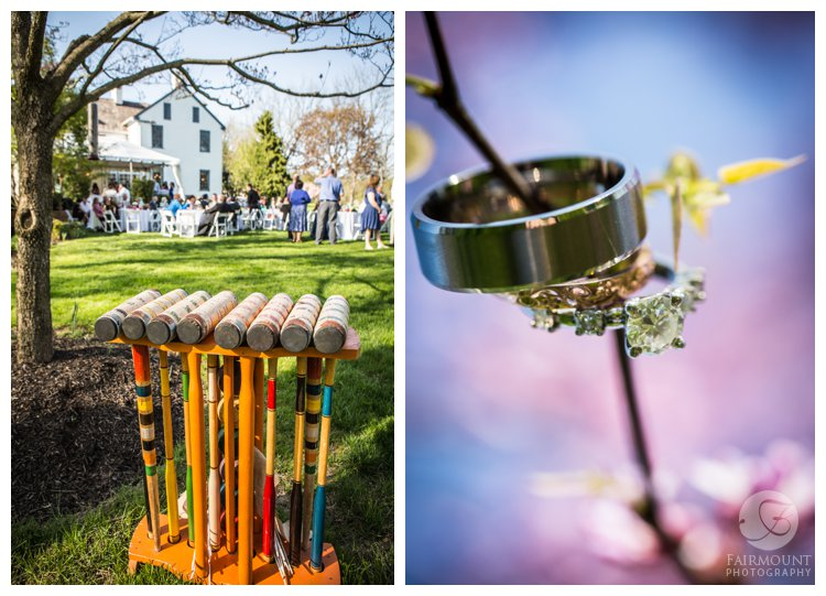 antique croquet set at outdoor wedding