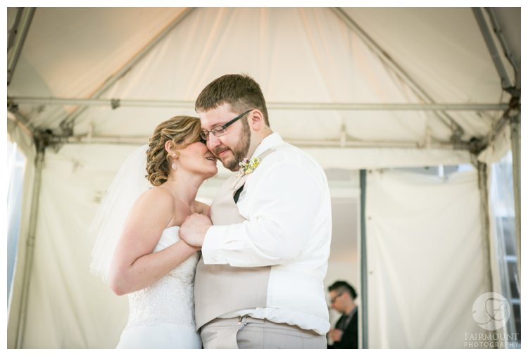 first dance at outdoor farmhouse wedding