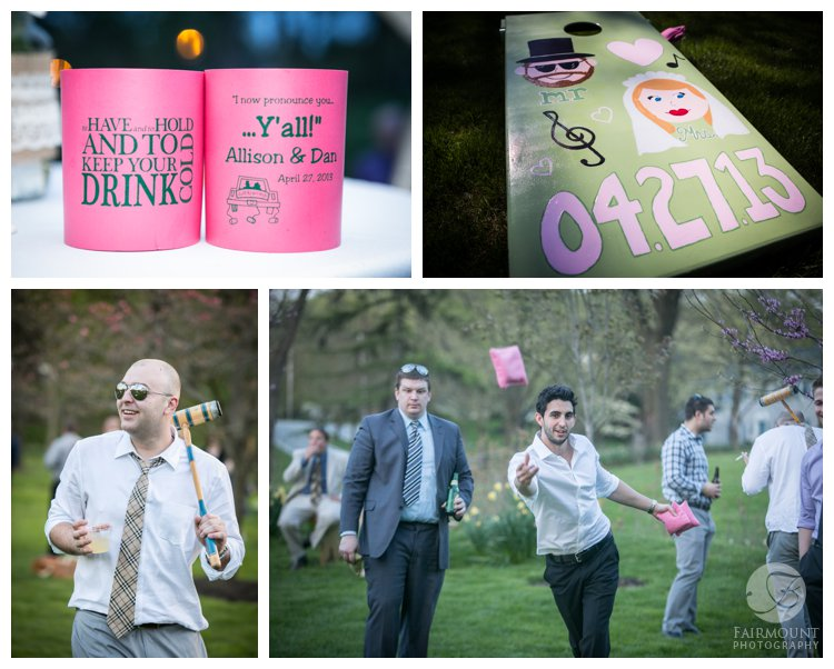 wedding guests play yard games like bocce and bean bags at April wedding