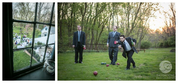 bocce at historic farmhouse wedding