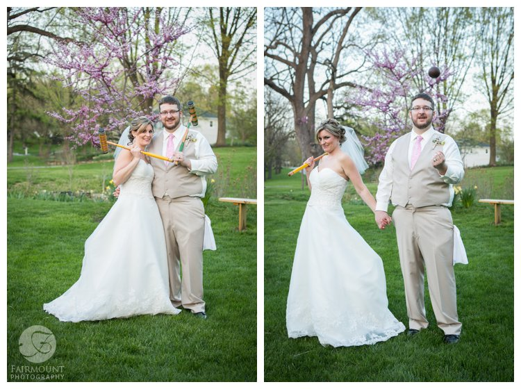 bride & groom portrait with antique croquet set