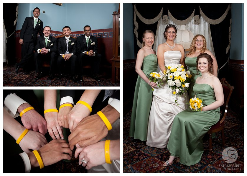 Bridesmaids wearing pale green with yellow and white bouquets