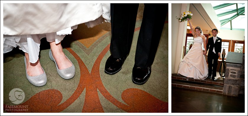bride & groom's feet with floor pattern in Knowlton Mansion