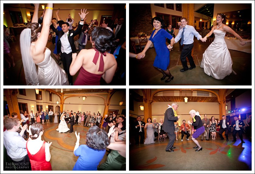 the chicken dance at Philadelphia wedding