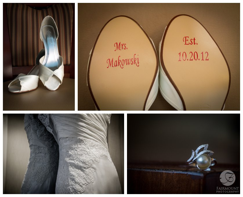 Bride's shoes with name and wedding date